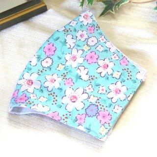 【花楽堂オリジナル】マスク 布マスク 小花柄ライトブルー 呉服屋の上質晒マスク 手作り 日本製