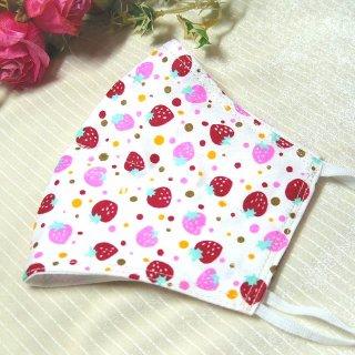 【花楽堂オリジナル】マスク 布マスク ピンク赤いちご柄 呉服屋の上質晒マスク 手作り 日本製