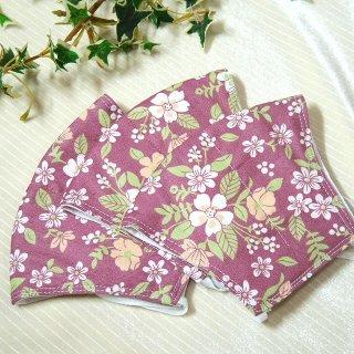 【花楽堂オリジナル】マスク 布マスク プラム フラワー 呉服屋の上質晒マスク 手作り 日本製