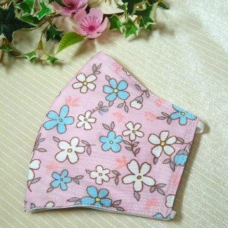 【花楽堂オリジナル】マスク 布マスク ピンク ポップフラワー 呉服屋の上質晒マスク 手作り 日本製
