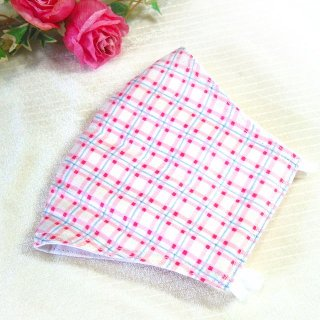 【花楽堂オリジナル】マスク 布マスク ピンク水色チェック 呉服屋の上質晒マスク 手作り 日本製