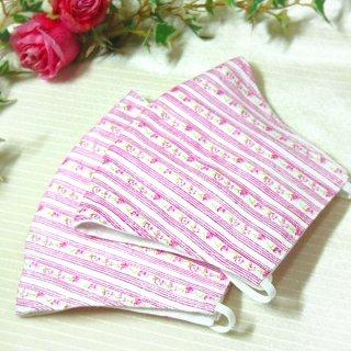 【花楽堂オリジナル】マスク 布マスク ピンク 花柄ストライプ 呉服屋の上質晒マスク 手作り 日本製