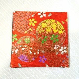 【金襴のハンドメイド和小物】金襴 和柄 コースター 赤花丸紋