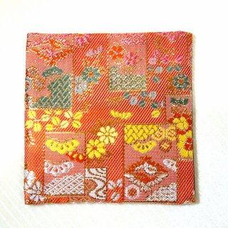 【金襴のハンドメイド和小物】金襴 和柄 コースター オレンジ花模様花札柄