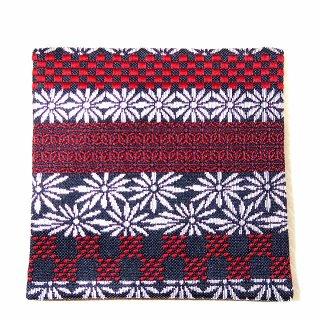 【金襴のハンドメイド和小物】金襴 和柄 コースター 黒赤シルバー刺繍