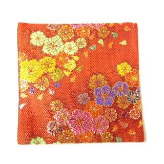 【金襴のハンドメイド和小物】金襴 和柄 コースター 朱色流文様花柄