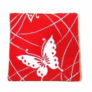 【和柄のハンドメイド和小物】和柄 コースター 赤 白蝶