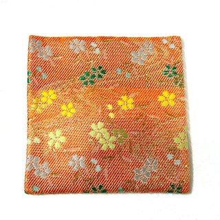 【金襴のハンドメイド和小物】金襴 和柄 コースター オレンジ流水花柄