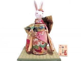 【うさぎ人形】凛香 オルゴール人形 晴レの日 桃