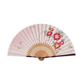 婦人用布扇子 花柄 クレマチス 扇子・扇子袋セット 赤 女性用扇子
