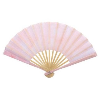 婦人用布扇子 スティック扇子 プリント 扇子・扇子袋セット ピンク 女性用扇子