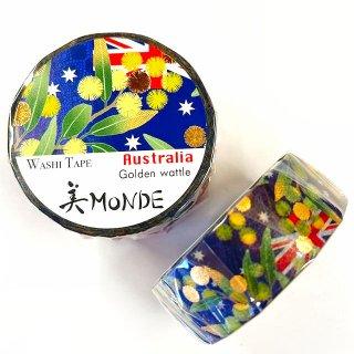 和紙マスキングテープ 美Monde 世界の花と伝統文様 オーストラリア ゴールデンワトル Australia
