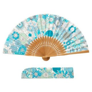 婦人用布扇子 リバティ柄 スモールスザンナ 扇子・扇子袋セット ブルー 女性用扇子