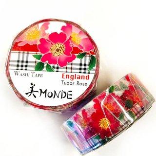 和紙マスキングテープ 美Monde 世界の花と伝統文様 イングランド チェダーローズ  England Tudor Rose
