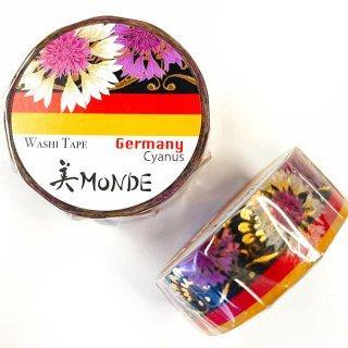 和紙マスキングテープ 美Monde 世界の花と伝統文様 ドイツ ヤグルマギク 矢車菊 Germany Cyanus