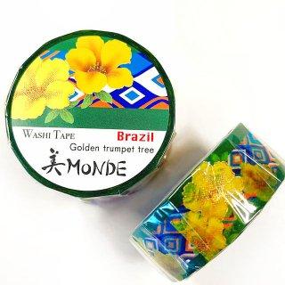 和紙マスキングテープ 美Monde 世界の花と伝統文様 ブラジル イッペー Brazil  Golden trumpet tree