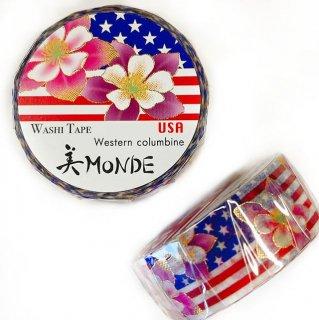 和紙マスキングテープ 美Monde 世界の花と伝統文様 アメリカ セイヨウオダマキ