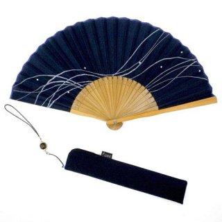 紳士用布扇子 fuwa紳士 波 扇子・扇子袋セット 紺 男性用扇子【舞扇堂】