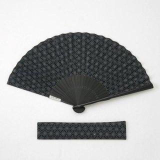紳士用布扇子 麻の葉 扇子・扇子袋セット 黒 男性用扇子