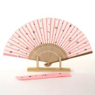 婦人用布扇子 ねこ 扇子・扇子袋セット ピンク 女性用扇子