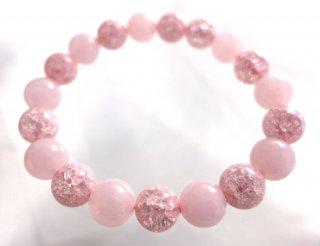ローズクオーツとピンククラック水晶のブレスレットB904195