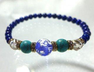 青龍彫り水晶×ラピスラズリ×トルコ石ブレスレット RN190513