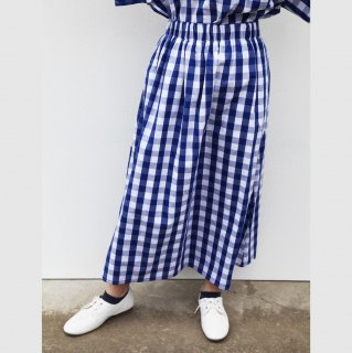 ohana ブロックチェックロングスカート(ブルー)