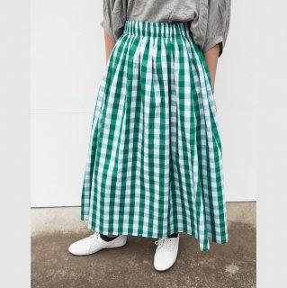 ohana ブロックチェックロングスカート(グリーン)