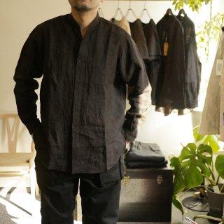【COLINA】Grandpa shirt(Mud dye)/コリーナ グランパシャツ(泥染め)