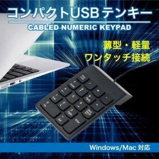 テンキー USB テンキ ブラック 有線 接続 軽量 薄型 静音