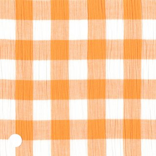 オレンジブロックチェッククレープ