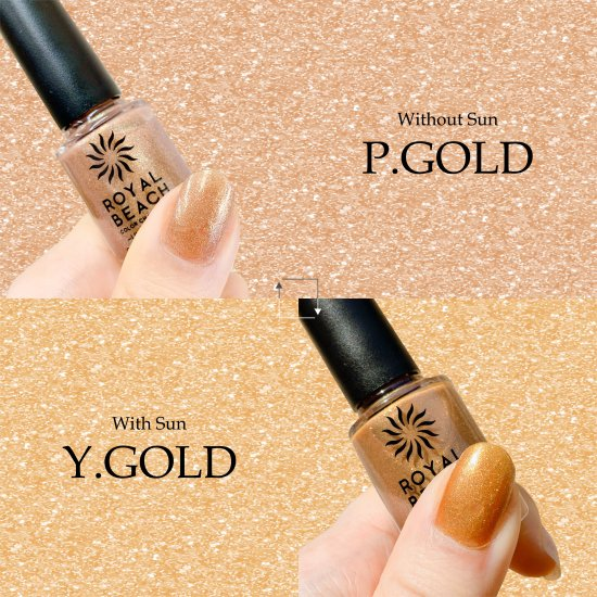 ROYAL BEACH<br>ロイヤルビーチ<br>カラーチェンジ<br>ネイル<br>LIMITED COLOR★ラメ★<br>P.GOLD⇔Y.GOLD<br>C-13<br>【送料無料】