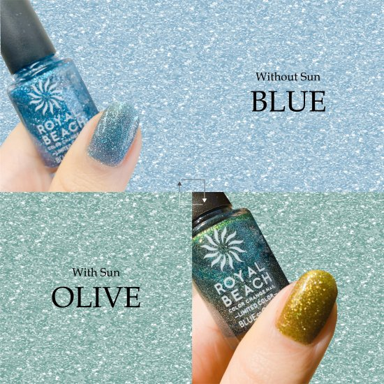 ROYAL BEACH<br>ロイヤルビーチ<br>カラーチェンジ<br>ネイル<br>LIMITED COLOR★ラメ★<br>BLUE⇔OLIVE<br>C-15<br>【送料無料】