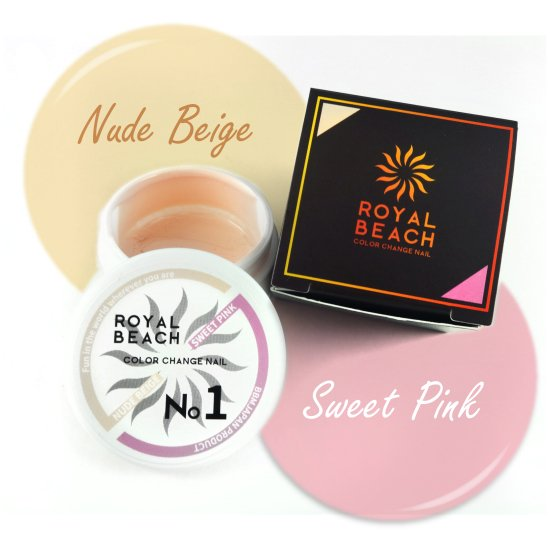ROYAL BEACH<br>ロイヤルビーチ<br>カラーチェンジ<br>ジェルネイル<br>NUDE BEIGE⇔SWEET PINK<br>No1<br>【送料無料】<img class='new_mark_img2' src='https://img.shop-pro.jp/img/new/icons20.gif' style='border:none;display:inline;margin:0px;padding:0px;width:auto;' />