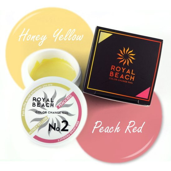 ROYAL BEACH<br>ロイヤルビーチ<br>カラーチェンジ<br>ジェルネイル<br>HONEY YELLOW⇔PEACH RED<br>No2<br>【送料無料】<img class='new_mark_img2' src='https://img.shop-pro.jp/img/new/icons20.gif' style='border:none;display:inline;margin:0px;padding:0px;width:auto;' />