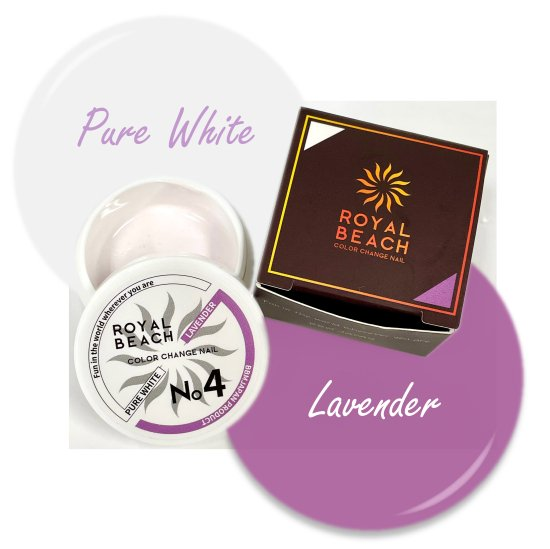 ROYAL BEACH<br>ロイヤルビーチ<br>カラーチェンジ<br>ジェルネイル<br>PURE WHITE⇔LAVENDER<br>No4<br>【送料無料】<img class='new_mark_img2' src='https://img.shop-pro.jp/img/new/icons5.gif' style='border:none;display:inline;margin:0px;padding:0px;width:auto;' />