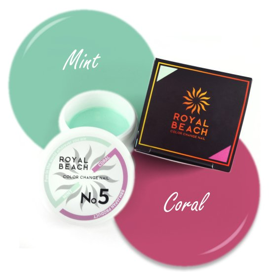 ROYAL BEACH<br>ロイヤルビーチ<br>カラーチェンジ<br>ジェルネイル<br>MINT⇔CORAL RED<br>No5<br>【送料無料】<img class='new_mark_img2' src='https://img.shop-pro.jp/img/new/icons20.gif' style='border:none;display:inline;margin:0px;padding:0px;width:auto;' />