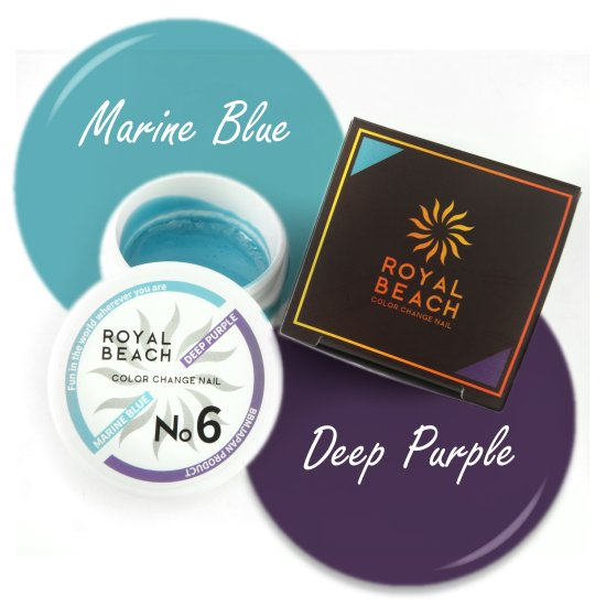 ROYAL BEACH<br>ロイヤルビーチ<br>カラーチェンジ<br>ジェルネイル<br>MARINE BLUE⇔DEEP PURPLE<br>No6<br>【送料無料】<img class='new_mark_img2' src='https://img.shop-pro.jp/img/new/icons20.gif' style='border:none;display:inline;margin:0px;padding:0px;width:auto;' />