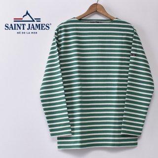 国内正規品 SAINT JAMES セントジェームス OUESSANT ウエッソン BORDER ボーダー  長袖Tシャツ GREEN/ECRU(グリーン/生成り)