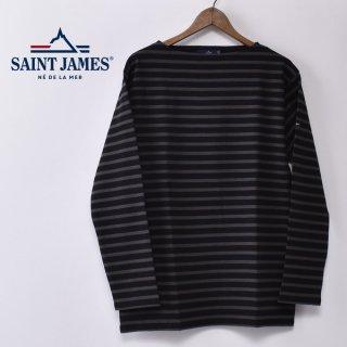 国内正規品 SAINT JAMES セントジェームス OUESSANT ウエッソン BORDER ボーダー  長袖Tシャツ NOIR/TAUPE(ブラック/ウォッシュグレー)