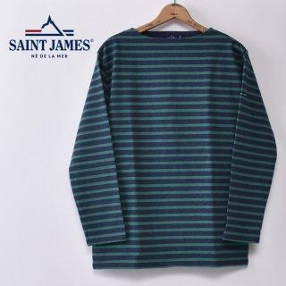 国内正規品 SAINT JAMES セントジェームス OUESSANT ウエッソン BORDER ボーダー  長袖Tシャツ CHAMBRAYF/GREEN(霜降りインディゴ/グリーン)