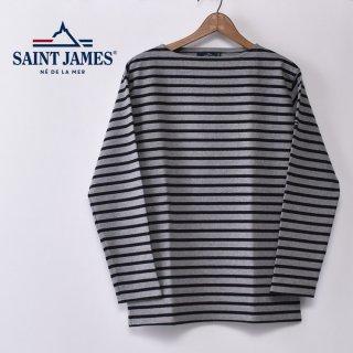 国内正規品 SAINT JAMES セントジェームス OUESSANT ウエッソン BORDER ボーダー  長袖Tシャツ GRIS/NOIR(杢グレー/ブラック)