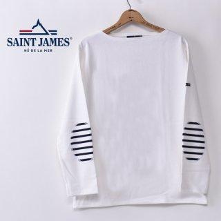 国内正規品 SAINT JAMES セントジェームス OUESSANT ELBOW PATCH ウエッソン エルボーパッチ NEIGE(NEIGE/MARINE) ホワイト(ホワイト/マリン)