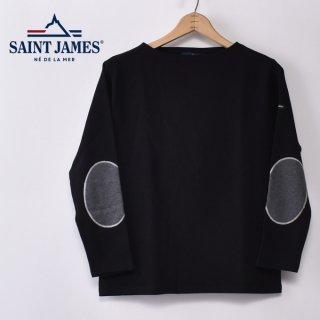 国内正規品 SAINT JAMES セントジェームス OUESSANT ELBOW PATCH ウエッソン エルボーパッチ NOIR(ACIER) ブラック(ブラック/霜降りチャコールグレー)