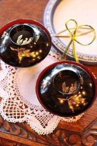 キュートすぎる小鳥ちゃんと野ぶどうの沈金 輪島・黒塗り椀 5客セット
