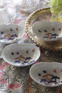 プチ色絵 松原の鳥ちゃんカップル ハートの鉢 4枚セット