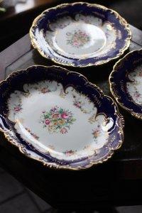 オールド・ミントン ロイヤルブルーのリム 手描きブーケのプレート・ペア&オーバル皿 セット