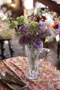 英国製 お花のハンドカット アールデコ ジャグ