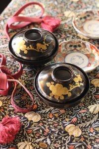 椿と梅の蒔絵 輪島塗 黒漆椀 5客