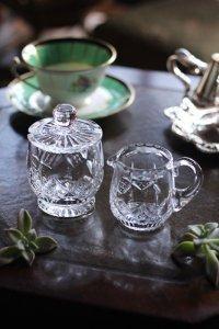 イギリス クリスタルガラス 小さなシュガーポット&ミルクジャグ